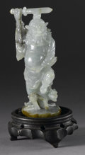 Asian:Chinese, CHINESE CARVED JADE/HARDSTONE FIGURE. Chinese carved jade/hardstonefigure of a guandi, with sword raised above his head a... (Total: 2)