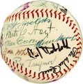Autographs:Baseballs, Circa 1970 Hall of Famers Multi-Signed Baseball from the Zack WheatEstate. While most of the twenty-five autographs upon t...