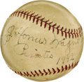 Autographs:Baseballs, 1942 Honus Wagner Single Signed Baseball. Still justifiably proud of the team he first joined in the year 1900, the Old Dut...