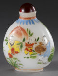 Asian:Chinese, CHINESE CARVED ENAMEL SNUFF BOTTLE. Chinese carved enamel snuffbottle, of white coloration with a painted scene depicting...
