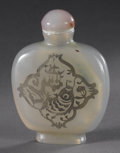 Asian:Chinese, CHINESE CARVED AGATE SNUFF BOTTLE. Chinese carved agate snuffbottle, of flattened and rounded form. With a design contain...