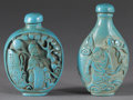 Asian:Chinese, PAIR OF CHINESE SNUFF BOTTLES. Pair of Chinese carved fauxturquoise snuff bottles. Each with figures in a landscape to bo...(Total: 2 )