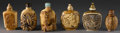Asian:Chinese, GROUP OF CHINESE CARVED SNUFF BOTTLES. Group of six Chinese carvedsnuff bottles, of varying shape and size. Five of ivory...