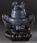 Asian:Chinese, CHINESE CARVED LAPIS LAZULI TRIPOD KORO. Chinese carved lapislazuli tripod koro and cover, with double mask loose ring ha...
