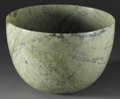 Asian:Chinese, CHINESE CARVED JADE/HARDSTONE BOWL. Chinese carved jade/hardstonebowl. Of mottled green coloration. 5.5in. high with 8in....