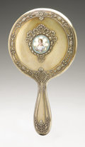 Other:American, AN AMERICAN SILVER HAND MIRROR AND BRUSH. Gorham, Providence, RI,1896. Gilt finish, hallmark with STERLING 377. The m...