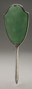 Other:American, AN AMERICAN SILVER AND ENAMEL HAND MIRROR AND BRUSH. Saart Bros.,Attleboro, MA, Early Twentieth Century. Hallmark to the ...