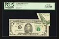 Error Notes:Foldovers, Fr. 1980-L $5 1988A Federal Reserve Note. PCGS Very Fine 25PPQ.....