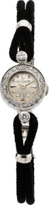 Timepieces:Wristwatch, LeCoultre Lady's White Gold & Diamond Back Wind With Box, circa1950's. ...