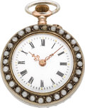 Timepieces:Pendant , Swiss Silver Pearl & Ruby Watch, circa 1890. ...