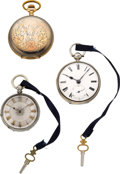 Timepieces:Pocket (pre 1900) , Lot of Three Silver Pocket Watches. ... (Total: 3 Items)