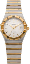 Timepieces:Wristwatch, Omega Ladies Choice Steel & Gold Constellation, Box &Papers. ...