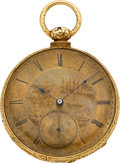 Timepieces:Pocket (pre 1900) , Arnold Adams & Co. 18k Gold Key Wind, circa 1860. ...