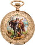 Timepieces:Pocket (post 1900), Swiss Gold & Enamel Pendant Watch, circa 1905. ...