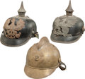 Military & Patriotic:WWI, German Helmets: Two Imperial German Enlisted Spiked Helmets and aBrass Fire Helmet.... (Total: 3 Items)