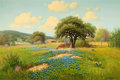 Texas:Early Texas Art - Regionalists, G. (GERALD HARVEY JONES) HARVEY (American, b.1933). TexasLandscape with Bluebonnets, 1962. Oil on canvas. 24 x 36...