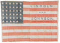 "Political:Textile Display (pre-1896), Lincoln & Johnson: Perhaps the Largest Known 1864 Campaign NameFlag, 51"" X 36"". ..."