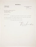 Baseball Collectibles:Others, 1944 Kenesaw Mountain Landis Signed Letter to Warren Giles....
