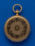 Timepieces:Pocket (pre 1900) , Waltham, 18k & Enamel, 10 Size Apple Tracy Key Wind. ...