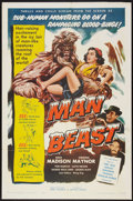 "Movie Posters:Science Fiction, Man Beast (Associated Producers, Inc., 1956). One Sheet (27"" X41""). Science Fiction.. ..."