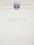 Baseball Collectibles:Others, 1958 Ted Lyons Signed Letter. ...