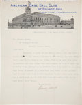 Baseball Collectibles:Others, 1916 Connie Mack Signed Letter. ...