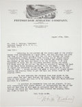 Baseball Collectibles:Others, 1924 Bill McKechnie Signed Letter....