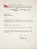 Baseball Collectibles:Others, 1953 Hank Greenberg Signed Letter. ...