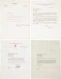 Baseball Collectibles:Others, 1935-52 Chandler, Frick and MacPhail Signed Letters Lot of 4....