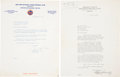 Baseball Collectibles:Others, William Harridge and George Weiss Signed Letters Lot of 2....