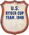Golf Collectibles:Bags/Flagsticks/Clothing, 1949 Lloyd Mangrum Personal Bag Crest from U.S. Ryder Cup....