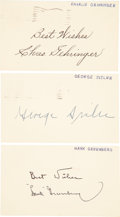 Baseball Collectibles:Others, 1955 Hank Greenberg, George Sisler and Charles Gehringer SingleSigned Government Postcards....