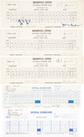 Golf Collectibles:Autographs, 1970-97 PGA Signed Scorecards Lot of 5, With Phil Mickelson....