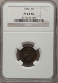 Proof Indian Cents, 1881 1C PR63 Brown NGC. NGC Census: (10/61). PCGS Population (12/51). Mintage: 3,575. Numismedia Wsl. Price for problem fre...
