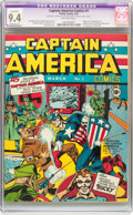 Golden Age (1938-1955):Superhero, Captain America Comics #1 (Timely, 1941) CGC Apparent NM 9.4 Moderate (P) Off-white pages....