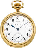 Timepieces:Pocket (post 1900), Waltham 23 Jewel 18k Gold Riverside Maximus With Boxes. ...