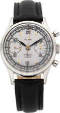 Timepieces:Wristwatch, Olma Steel Waterproof Vintage Chronograph, circa 1950's. ...
