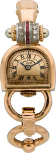 Timepieces:Wristwatch, Paul Ditisheim Gold Retro Wristwatch, circa 1940. ...