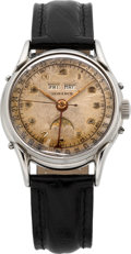 Timepieces:Wristwatch, Swiss Vintage Steel Triple Calendar With Moon Phase, circa 1940's....