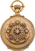 Timepieces:Pocket (pre 1900) , Elgin Gold 18 Size Multicolor Box Hinge With Diamonds & Rubies,circa 1886. ...