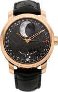 Timepieces:Wristwatch, Martin Braun Rose Gold FC Selene Automatic Moon Phase Calendar With Meteorite Dial. ...