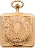 Timepieces:Pocket (post 1900), Swiss Unique Gold Square Hunters Case Watch, circa 1905. ...