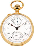 Timepieces:Pocket (pre 1900) , Swiss Gold Split Second Chronograph With Register, circa 1895. ...