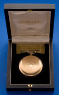 Timepieces:Pocket (post 1900), Howard 12 Size, 17 Jewel Hunters Case With Original Box. ...