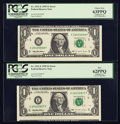 Error Notes:Miscellaneous Errors, Fr. 1921-E $1 1995 Federal Reserve Notes. Two Consecutive Examples. PCGS New 62PPQ-Choice New 63PPQ.. ... (Total: 2 notes)