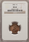 1863 1C MS64 NGC. NGC Census: (558/201). PCGS Population (647/177). Mintage: 49,840,000. Numismedia Wsl. Price for probl...