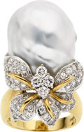 Estate Jewelry:Pearls, Baroque South Sea Cultured Pearl, Diamond, Platinum, Gold Ring. ...