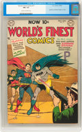 Golden Age (1938-1955):Superhero, World's Finest Comics #71 (DC, 1954) CGC FN+ 6.5 Cream to off-white pages....