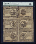 Colonial Notes:Continental Congress Issues, Continental Currency July 22, 1776 Counterfeit Detector Partial Sheet with Six Notes PMG About Uncirculated 55.. ...