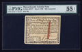 Colonial Notes:Massachusetts, Massachusetts May 5, 1780 $20 Counterfeit PMG About Uncirculated 55EPQ.. ...